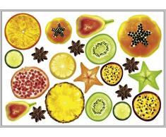 Plage Decoración Mural Adhesiva con Diseño Frutas Tropicales, Vinilo, Multicolor, 48x3x68 cm