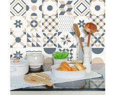 Ambiance-Live Adhesivos de imitación de mosaico hidráulico para pegar en la pared, azulejos, 15 x 15 cm, 24 piezas