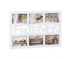 Relaxdays marco de fotos mútliple para 6 fotografías, Plástico, Color blanco, 33 x 48 x 1,5 cm