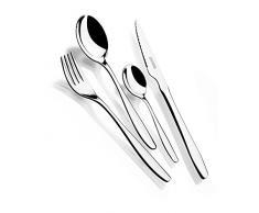 Monix Zurich - Set 75 piezas cubiertos de acero inox 18/10 con cuchillo chuletero y estuche Nogal (12 comensales)