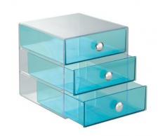 InterDesign Drawers caja almacenaje con 3 cajones   Cajonera plástico para maquillaje y cosméticos   Accesorios para baños   Plástico color azul turquesa