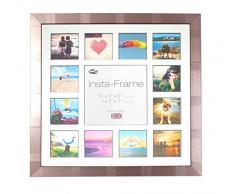 Inov8 16 x 40,64 cm Insta-Frame Marco para Instagram 13/de estampado a cuadros de fotos con paspartú blanco y negro con borde, 2 unidades, plateado