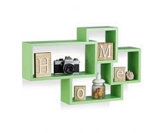 Relaxdays Estantería de Pared Flotante Decorativa, Madera MDF, Verde, 42 x 69 x 12 cm