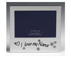 Message Frames Marco de Fotos I Love My Nana, Regalo Ideal para el cumpleaños de Tus Abuelos, Navidad, día de la Madre