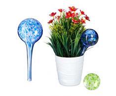 Relaxdays, Ø 6cm, Azul, Set de Dos Globos, Sistema de riego para Plantas, Vacaciones, Vidrio