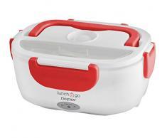 BEPER Lunch & Go Calentador de comida eléctrico portátil, 2 contenedores extraíbles, plancha calefactora de acero, cubiertos de plástico incluidos, 220 V, Rojo