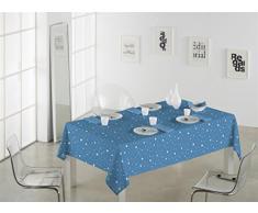 SABANALIA Mantel de Tela Antimanchas Rain Medidas, 140 x 250, Azul