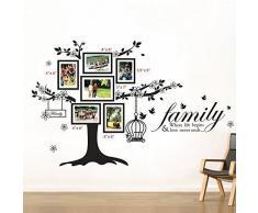 WALPLUS WS9021 Paquete Combo de Jaula, Cita de la Familia, Aves, más WS3023, Adhesivo Mural de Cita sobre la Familia, Aves