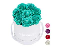 Relaxdays Rosas Artificiales, Caja de Flores Blanca, 8 Unidades, Ramo Decorativo, Flower box, Cartón-Tela-PP, Turquesa