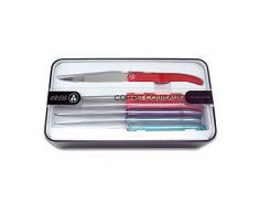 Laguiole Evolution® - Juego de 6 cuchillos de acero inoxidable - Mango en ABS multicolor variado - Juego de cubiertos