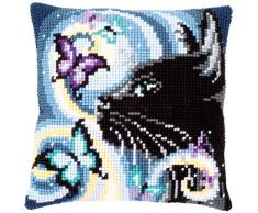 Vervaco PN-0149061 - Cojín de punto de cruz, diseño de gato con mariposas, preestampado, algodón, multicolor, 40 x 40 cm