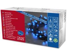 Konstsmide 3691-407 - Guirnalda LED para el árbol de navidad (80 diodos azules, transformador exterior 24 V, 2,4 W, cable negro)