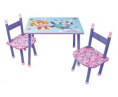 Fun House 712744 Pat' Patrulla niña Mesa con 2 sillas para niños, MDF/Metal, 60 x 40 x 44 cm