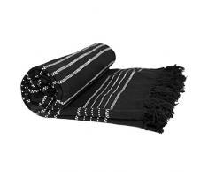Just Contempo - Manta térmica (100% algodón Tejido, 229 x 254 cm), diseño con Bordado de Rayas, 100% algodón, Negro, Matrimonio