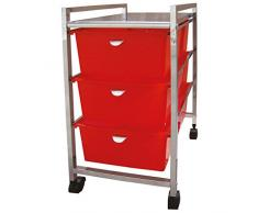 Laroom Carrito Ancho 3 cajones, Chrome Acero Inoxidable Structure y PP Drawers, Rojo
