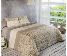 Algodón Blanco Pepe - Colcha bouti jacquard, para cama de 90 cm, 180 x 270 cm, 1 funda de cojín, 60 x 40 cm, color beige