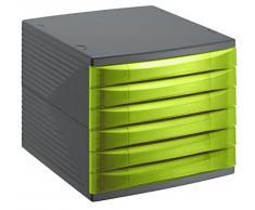 Rotho 1108105519 cajones Box Oficina Quadra de plástico (PS), 6 cajones cerrados, formato A4, alta calidad, aprox. 37 x 28 x 25 cm, Antracita/Verde Oficina Caja, plástico, 27 x 28 x 25 cm