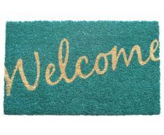 Entryways - Felpudo (43 x 71 cm, fibra de coco y revestimiento de PVC), diseño de palabra Welcome en cursiva