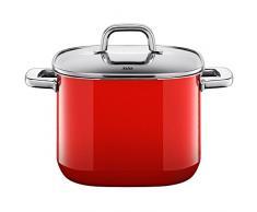 Silit 2102299561 Quadro olla Diámetro 22 Cm Alto (aprox. 6,8 l forma de olla cuadrada apilable Tapa de cristal Silargan Función cerámica inducción apto para lavavajillas, esmaltado, rojo, 25 cm