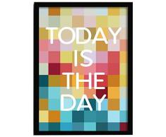 LO+DEMODA HCN2107-87 - Cuadro con marco, diseño Today is the day, 33 x 43 cm, multicolor