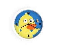 Kikkerland - Reloj de pared (25 cm, plástico ABS y cristal), diseño de pato, multicolor