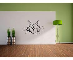 Pixxprint Loco de Gato Pegatinas de Pared de la decoración para la casa, el sueño y la habitación de los niños, 900 x 570 mm