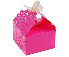 AKORD 50 Cajas de Regalo de Caramelos para Boda, Papel, Papel, Rosa (b), 150 x 150 x 60mm