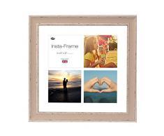 Inov8 16 x 40,64 cm Insta-Frame mosaico de marcos de fotos para Instagram 4/de estampado a cuadros de fotos con paspartú blanco y blanco con borde, se debe lavar a suave piedra