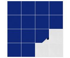 FoLIESEN Adhesivo para Azulejos para Baño y Cocina – 20 x 20 cm – Color Azul Mate – 100 Adhesivos para Azulejos para Pared Azulejos
