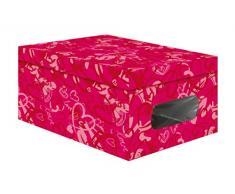 Compactor Home 25 cm PVC y Caja de almacenaje de cartón Color, Fucsia