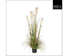 Mica Decoraciones 987718Primavera Hierba Foxtail Blanco Planta Artificial en Maceta de plástico, PVC, Verde, 20x 20x 150cm