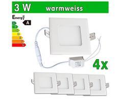 4 x funda utlrafina LEDVero Panel LED SMD 2835 3 W cuadrado de color blanco cálido de luz ultrafino para techo