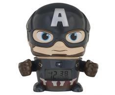 BulbBotz Despertador Infantil con Luz Nocturna de Capitán América de Vengadores, Azul, 11.5x15.3x16.5 cm, 2021722