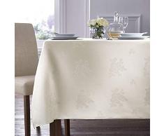 Charlotte Thomas harlotte Thomas Damask Rose Tablecloth 88cm x 88cm Ivory Mantel de Damasco con diseño de Rosas, 88 x 88 cm, Color Marfil, Blanco
