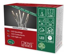 Konstsmide guirnalda de Micro LED, 20 diodos de luz blanca cálida, 24 V transformador interno, cable transparente 6351-123