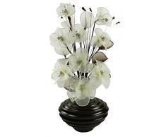 Diseño de flores de forma ovalada 792206 65 cm flores artificiales jarrón, Crema/Marrón