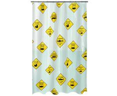 Spirella colección Danger, Cortina de Ducha Textil 180 x 200, 100% Polyester, Multicolor, Peva, Black/Yellow, x cm