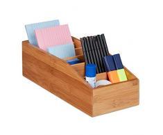 Relaxdays Caja de almacenaje de bambú, Seis Compartimentos, Organizador de Escritorio-baño-Cocina, Marrón, Beige, 10 x 14 x 35 cm