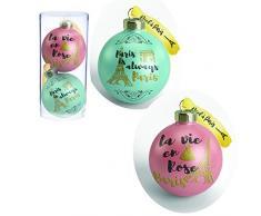 Juego de 10 Bolas de Navidad en París, Color Verde y Rosa, de PVC, 5,5 cm