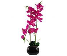 Hoja de orquídea Artificial, Materiales Combinados Materiales Mixtos., Rosa Oscuro Negro, 70 cm
