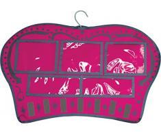 Impacto Paris 60089 Organizador de joyería Organizador para colgar espacio rectangular poliéster, color Gris, rosa, 80 x 45 x 1 cm