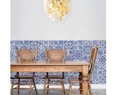 Walplus Ocean Blue - Pegatinas de Pared (Vinilo, 63,5 x 63,5 x 3 cm), diseño de Azulejos