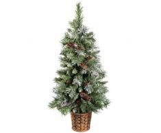 WeRChristmas 91,44 cm Diseño de pícea azul árbol de Navidad con piñas y bayas en tiesto de resina dorada olla