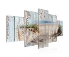 Imagen de playa de madera tablones de pared lienzo XXL formato pared imágenes de salón vivienda decoración impresiones artísticas azul 5 piezas – Fabricado en Alemania – listo para colgar 606153a