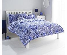 Paoletti - Juego de Ropa de Cama Ionia, de percal, de Cama de Matrimonio Grande, Funda nórdica y Funda de Almohada, de Color Azul índigo.