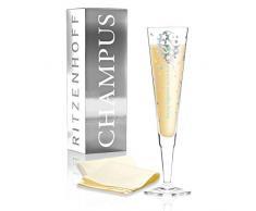 RITZENHOFF Champus Copa de champán 2018, de Kathrin Stockebrand, de cristal, 200 ml, con noble platino, incluye servilleta de tela
