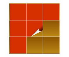 Adhesivo para azulejos para baño y cocina – 20 x 20 cm – orangenrot Mate – 20 adhesivos para azulejos para pared azulejos