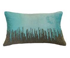 AM Home - Almohada de Terciopelo Plateada con Plumas, algodón, Aqua, Queen