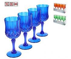 CB 18312 Set 4 copas vino plástico tallado 17x7cm