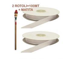Armario bomboneras 100Â metros cinta de RASO Blanco para fabricar bomboneras 3Â mm + 1matita, X, 3Â unidades